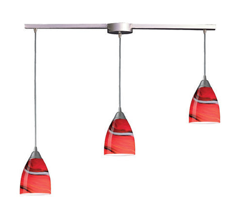 ELK Lighting 527-3L-Cy Three Light Pendant In Satin Nickel And Candy Glass - PeazzLighting