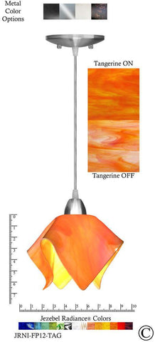 Jezebel Radiance Flame Pendant Small - Hardware Nickel - Glass Tangerine Orange - PeazzLighting