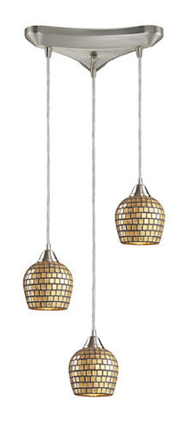 ELK Lighting 528-3Gld Three Light Pendant In Satin Nickel And Gold Mosaic Glass - PeazzLighting