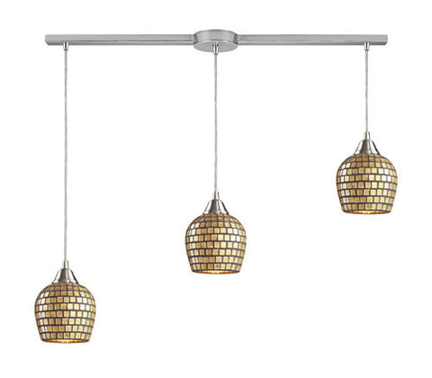 ELK Lighting 528-3L-Gld Three Light Linear Pendant In Satin Nickel And Gold Mosaic Glass - PeazzLighting