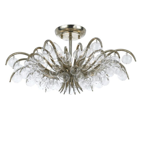 Crystorama 430-SA 5-Lights Antique Silver Semi Flush Mount - Antique Sliver - Peazz.com