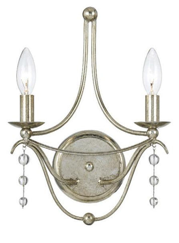 Crystorama 432-SA 2-Lights Antique Silver Sconce - Antique Silver - Peazz.com