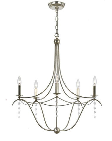 Crystorama Antique Silver Chandelier 5 Lights - Antique Sliver - 435-SA - Peazz.com
