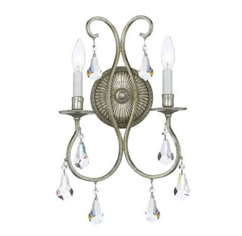 Crystorama 5012-OS-CL-MWP 2-Lights Clear Cut Crystal Wall Sconce - Olde Silver - Peazz.com