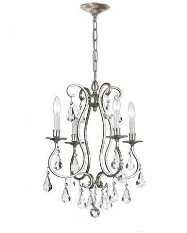 Crystorama Clear Hand Cut Crystal Chandelier 4 Lights - Old Silver - 5014-OS-CL-MWP - Peazz.com