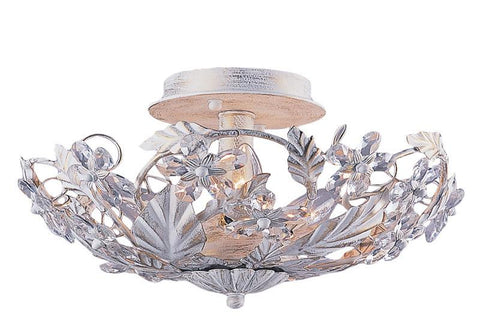 Crystorama 5316-AW 6-Lights Abbie Collection Hand Cut Crystal Semi Flush - Antique White - Peazz.com