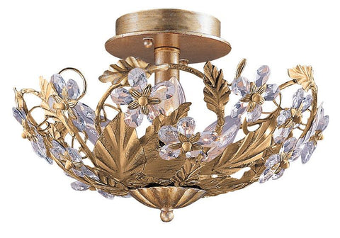 Crystorama 5316-GL 6-Lights Abbie Collection Hand Cut Crystal Semi Flush - Gold Leaf - Peazz.com
