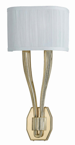 Crystorama 582-PB 2-Lights Cast Brass Wall Sconce Accented W/ Fabric Shade - Polished Brass - Peazz.com
