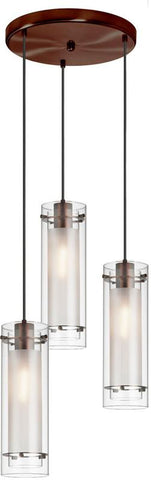 Dainolite 3 Lite Oil Brushed Bronze Pendant Round Canopy Black Wire Clear Glass With Frosted Glass Insert 12153R-CF-OBB - Peazz.com