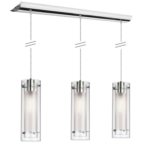 Dainolite 3 Lite Polished Chrome Pendant Clear Frosted Glass Silver Wire 22153-CF-PC - Peazz.com