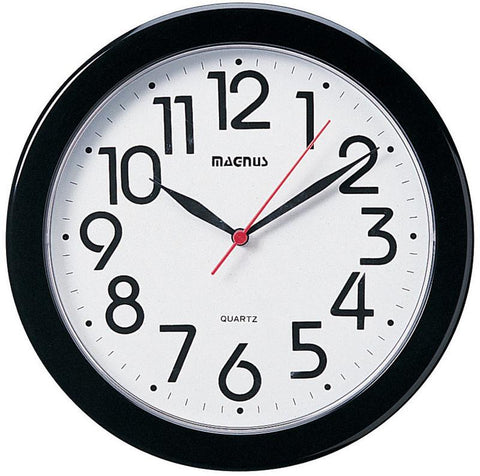 "Dainolite 10"" Round Black Wall Clock 24103-BK - Peazz.com"
