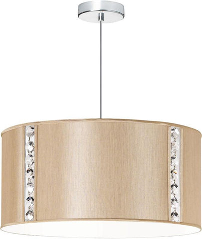 Dainolite 3 Lite Polished Chrome Round Pendant With Silk Glow Latte Drum Shade w/ 840 Diffuser & Octagonal Crystal Accents 571898-838-PC - Peazz.com