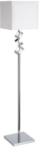 Dainolite 1 Lite Polished Chrome Floor Lamp Optical K-9 Crystal White Shade 602F-PC-WH - Peazz.com