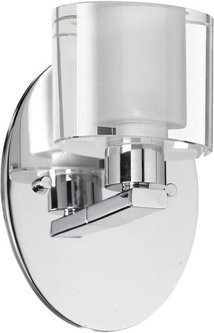 Dainolite 1 Lite Polished Chrome Wall Sconce Clear / Frosted Oval Glass 809-1W-PC - Peazz.com