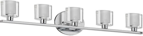 Dainolite 5 Light Polished Chrome Vanity Clear/Frosted Oval Glass 809-5W-PC - Peazz.com