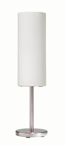 Dainolite 1 Lite Satin Chrome Table Lamp White Glass Shade 83205-SC-WH - Peazz.com