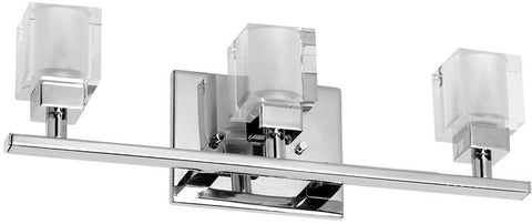 Dainolite 3 Lite Polished Chrome Vanity Frosted Cube Glass 83893W-PC - Peazz.com