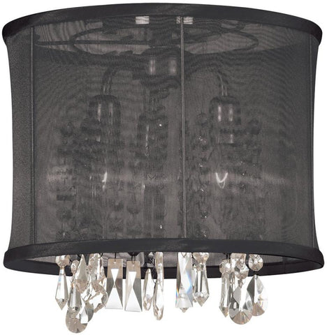 Dainolite 3 Lite Polished Chrome Semi Flush Crystal Pendant  With Black Organza Shade 85312SF-PC-115 - Peazz.com