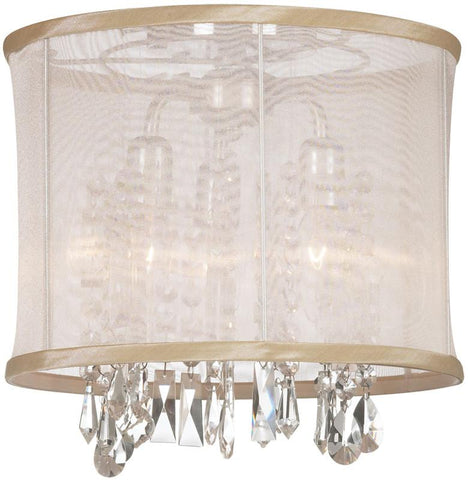 Dainolite 3 Lite Polished Chrome Semi Flush Crystal Pendant  With Oyster Organza Shade 85312SF-PC-117 - Peazz.com