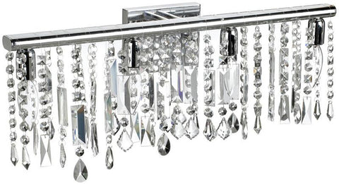 Dainolite 4 Lite Polished Chrome Vanity 26 Strands Clear Crystals 85324W-PC - Peazz.com
