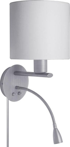 Dainolite Satin Chrome Led Sconce Cream Shade With Led Reading Lamp DLED410-W-SC - Peazz.com
