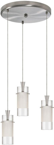 Dainolite 3 Lite Satin Chrome Round Pendant Clear/Frosted Glass DLSL221-12R-CF-SC - Peazz.com