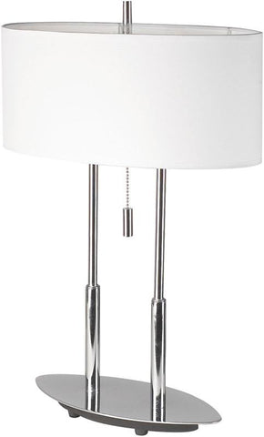 Dainolite Satin Chrome Table Lamp Oval Linen Shade DM2222-PC - Peazz.com