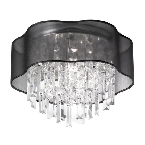 Dainolite 3 Lite Polished Chrome Flush Fixture With Black Laminated Organza Shade ILL-133FH-PC-815 - Peazz.com