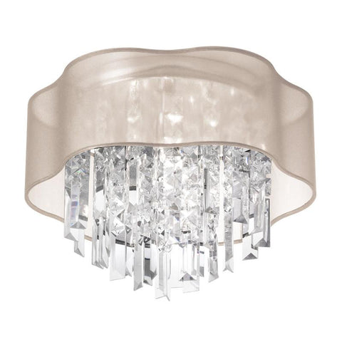 Dainolite 3 Lite Polished Chrome Flush Fixture With Oyster Laminated Organza Shade ILL-133FH-PC-817 - Peazz.com