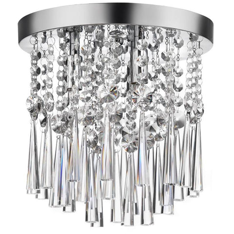Dainolite 3 Lite Polished Chrome Clear Crystal Flush Mount Ceiling Fixture JOS-10-3-FH-PC - Peazz.com