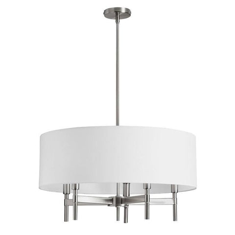 Dainolite LAR-245C-SC 5 Light Chandelier w/WH Linen Drum Shade - Peazz.com