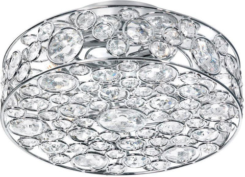 Dainolite 4 Lite Polished Chrome Semi Flush Fixture With K-9 Clear Crystal LYN-13-4FH-PC - Peazz.com