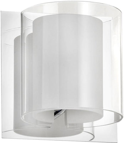 Dainolite 1 Lite Polished Chrome Sconce Clear Crystal With Frosted Details V311-1W-PC - Peazz.com
