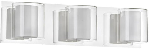 Dainolite 3 Lite Polished Chrome Vanity Clear Crystal With Frosted Details V311-3W-PC - Peazz.com