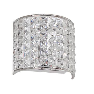 Dainolite 1 Lite Polished Chrome Sconce Clear Crystal V677-1W-PC - Peazz.com