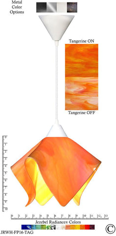 Jezebel Radiance Flame Pendant Large - Hardware White - Glass Tangerine Orange - Peazz.com