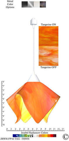 Jezebel Radiance® Flame Track Lighting Pendant Large. Hardware: White. Glass: Tangerine - Peazz.com