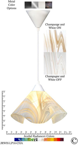 Jezebel Radiance Lily Pendant Large - Hardware White - Glass Champagne, Beige & White - Peazz.com