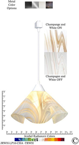 Jezebel Radiance® Lily Track Lighting Pendant Large. Hardware: White. Glass: Champagne and White - Peazz.com