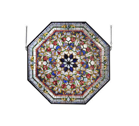 "Meyda Tiffany 107224 25""W X 35""H Front Hall Floral Stained Glass Window - Peazz.com"