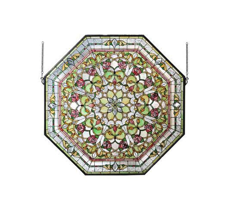 "Meyda Tiffany 107225 35""W X 35""H Front Hall Floral Stained Glass Window - Peazz.com"