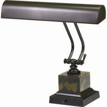 "House of Troy P14-280 14"" Mahogany Bronze/Black and Tan Marble Piano/DeskLamp - Peazz.com"