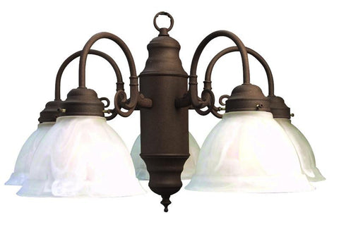 Woodbridge Lighting Basic 5-light Antique Bronze Marble Glass Chandelier - Peazz.com