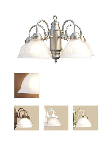 Woodbridge Lighting Basic 5-light Satin Nickel Marble Glass Chandelier - Peazz.com