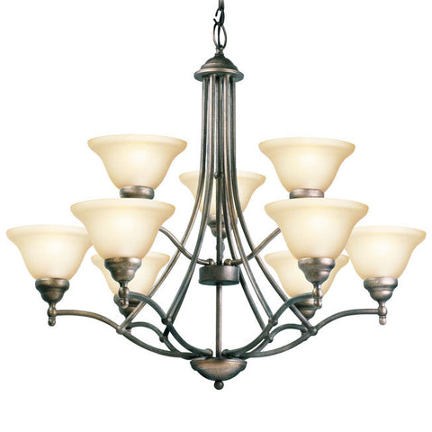 Woodbridge Lighting 12088-GST 9 Light Anson Chandelier, Greystone - PeazzLighting