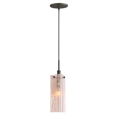 Woodbridge Lighting 1-light Mini Pendant in Metallic Bronze and Seedy Plated Amber Glass - PeazzLighting