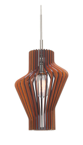 Woodbridge Lighting Canopy 1-light Wood Shade Satin Nickel Mini Pendant - PeazzLighting