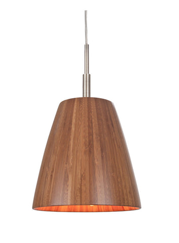 Woodbridge Lighting Sorg 1-light Bamboo Shade Satin Nickel Mini Pendant - PeazzLighting
