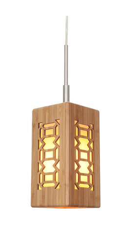 Woodbridge Lighting Light House 1-light Bamboo Shade Satin Nickel Mini Pendant - PeazzLighting