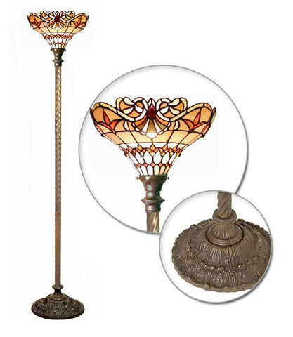 Tiffany Style Baroque Torchiere by Warehouse of Tiffany 2484+BB75B - Peazz.com